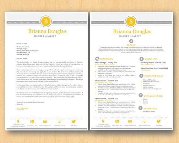 yellow grey modern elegant microsoft word printable resume 1 2 p