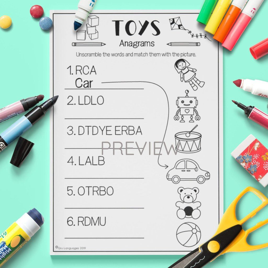 Toys 'Anagrams'   Vocabulary activities [ 1024 x 1024 Pixel ]