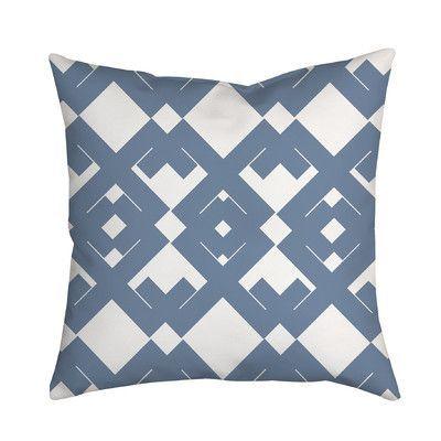 "SafiyaJamila Coastal Diamanté Geometric Throw Pillow Size: 18"" H x 18"" W x 2"" D, Color: Blue"