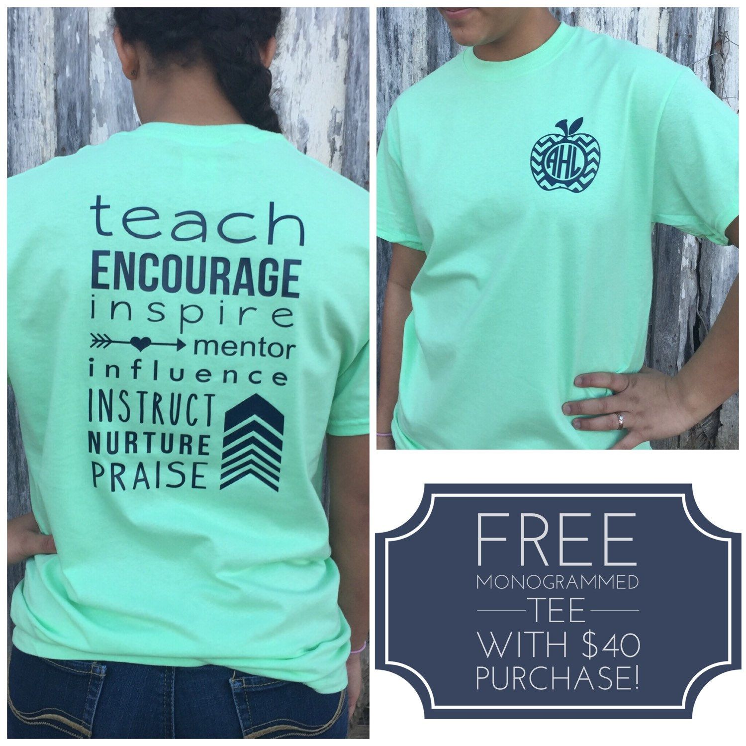 f06b283b Size medium Monogrammed Teacher T-shirt, Teacher T-Shirt, Teacher  Appreciation Gift…