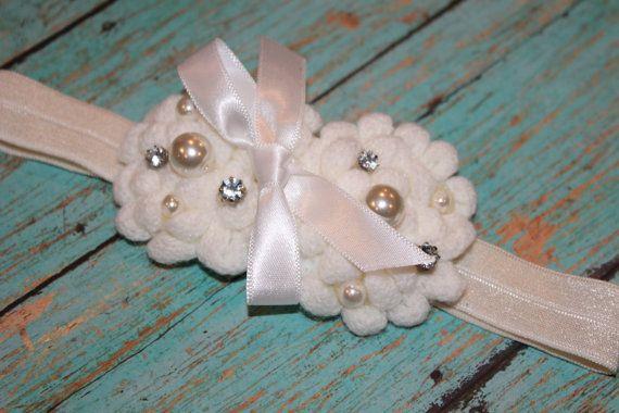 Ivory Headband  Christening Headband  Baptism Headband Flower Girl by harlowsblooms, $8.00