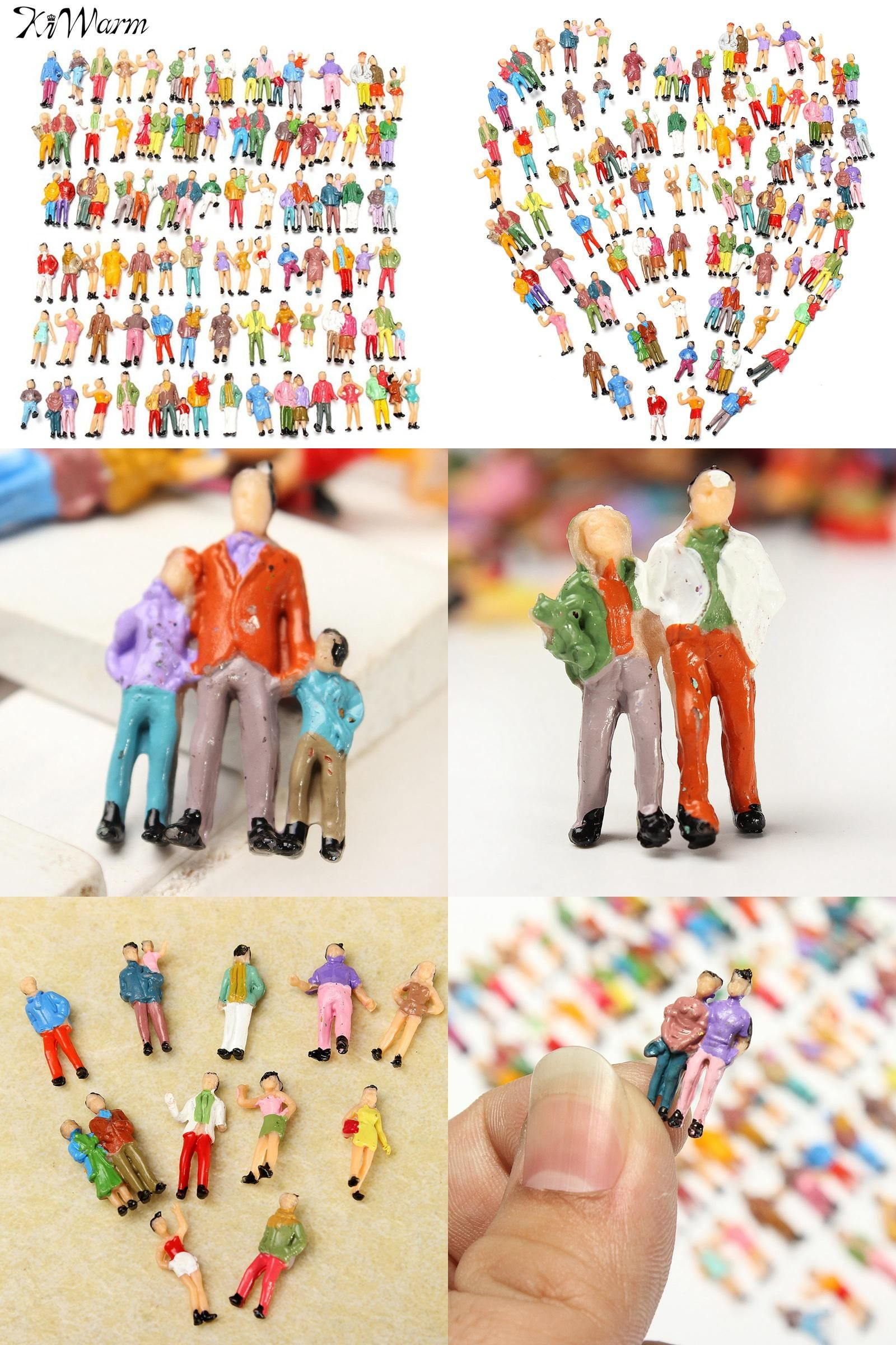 [Visit to Buy] KiWarm 100pcs Scale 1:87 Mixed Painted Model Trains People Passengers Figurines Miniatures for Micro Garden DIY Decoration Craft #Advertisement