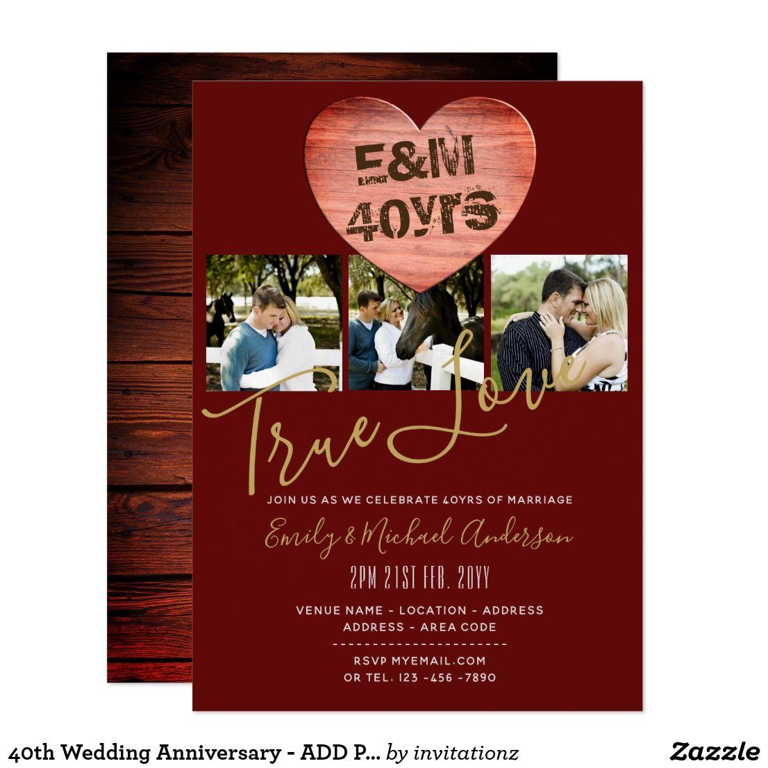 40th Wedding Anniversary - ADD PHOTOS x 3 Rustic Card | 40th wedding ...