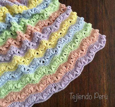 Cobijas o mantas tejidas en palitos o dos agujas crochet - Mantas de ganchillo paso a paso ...