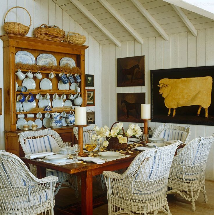 Welsh Dresser Combines With Blue And White Stripes And Wicker In This Cosy White Painted Dining