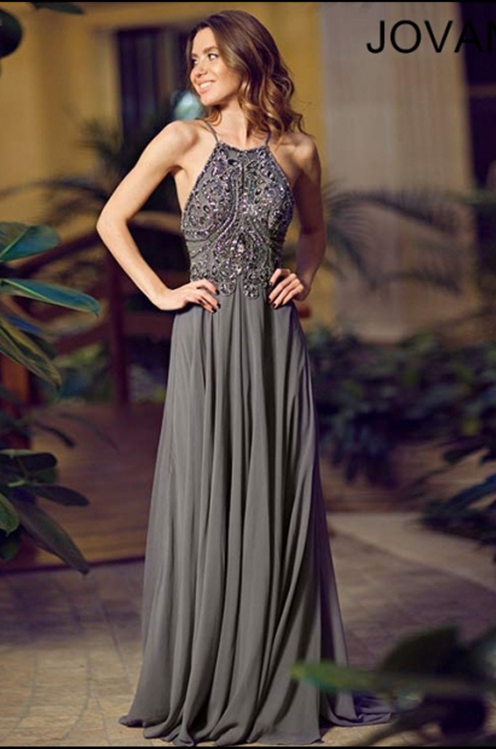 This prom gown from jovani is a beautiful chiffon dress with bold
