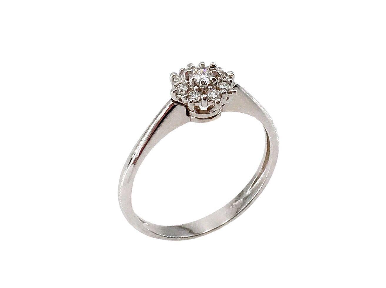 mode de vente chaude haute couture rechercher l'original Anello oro bianco con fiore diamanti 0,21 ct   Anelli ...