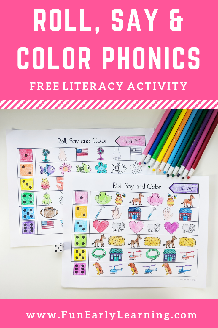 Roll, Say and Color Initial Sounds Phonics, Initial