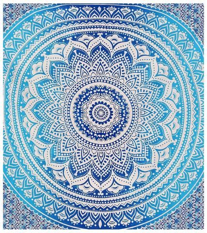 Indian Hippie Ethnic Bohemian Psychedelic Blue Ombre Mandala Handmade Twin Tapestry