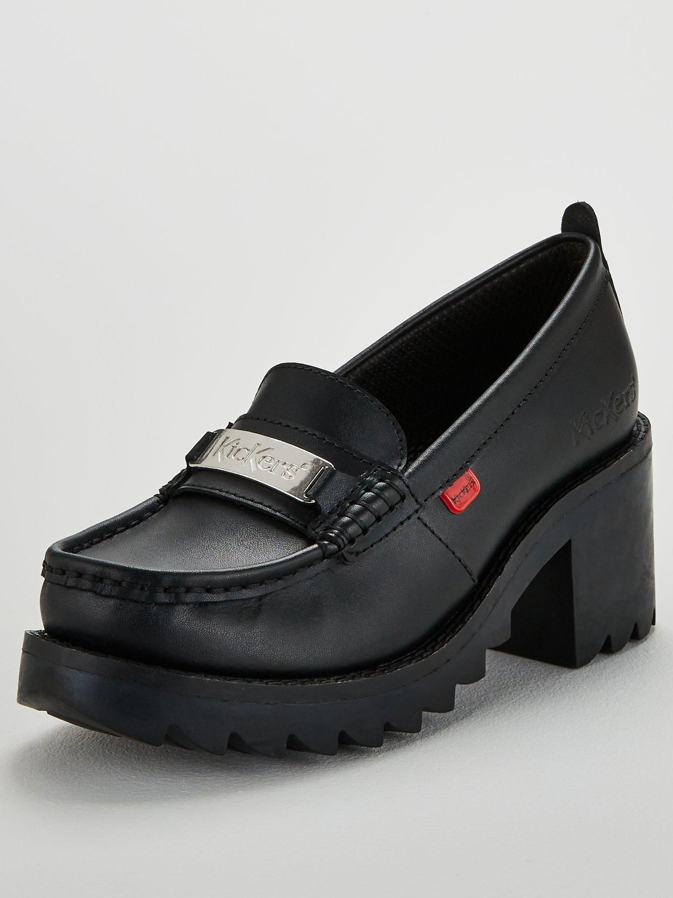 Kickers Klio Y Loafer Heeled Shoes Black | Black shoes