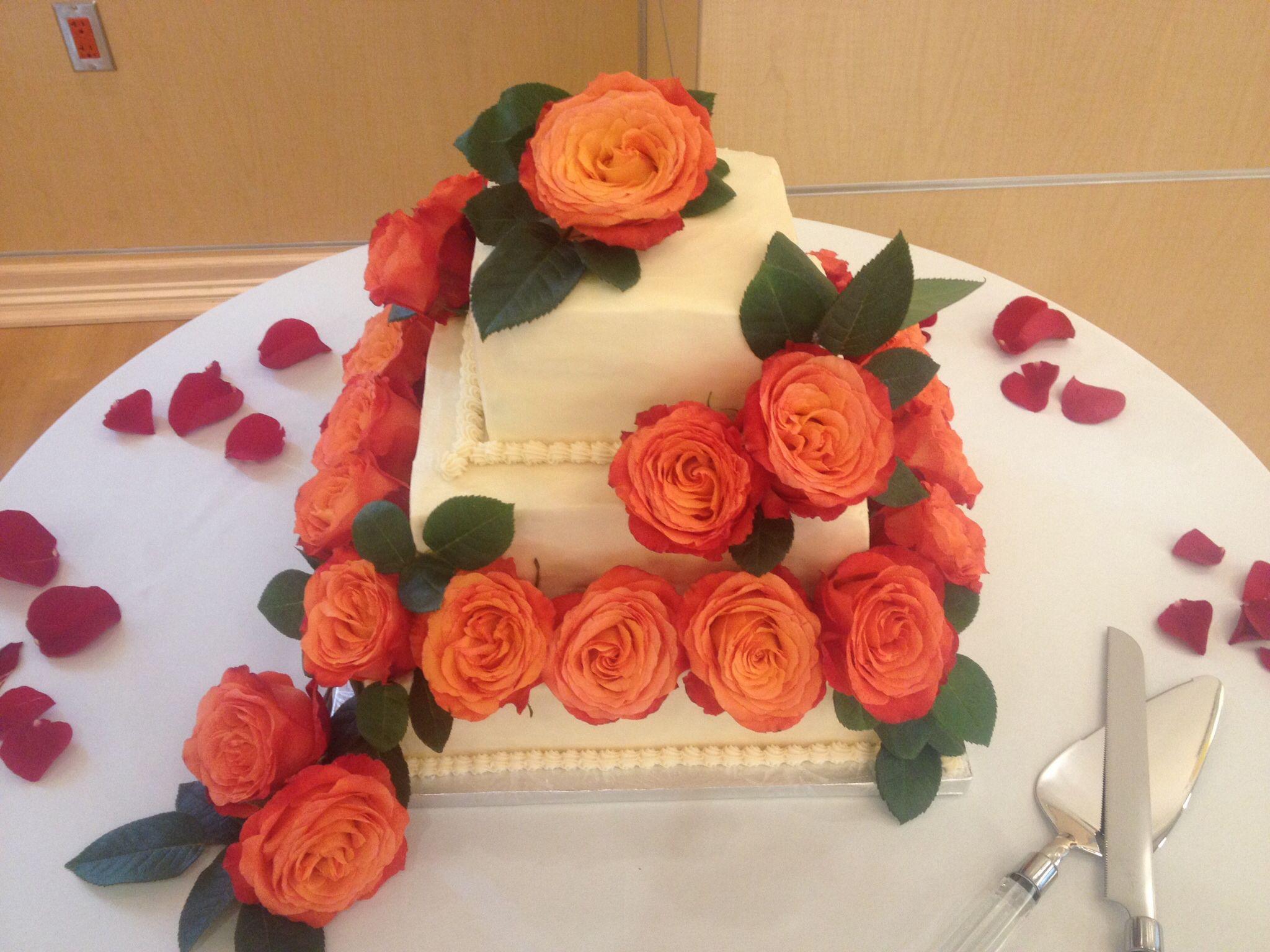 Three tier square #wedding #cake designed by Teatime Delicacies, Inc