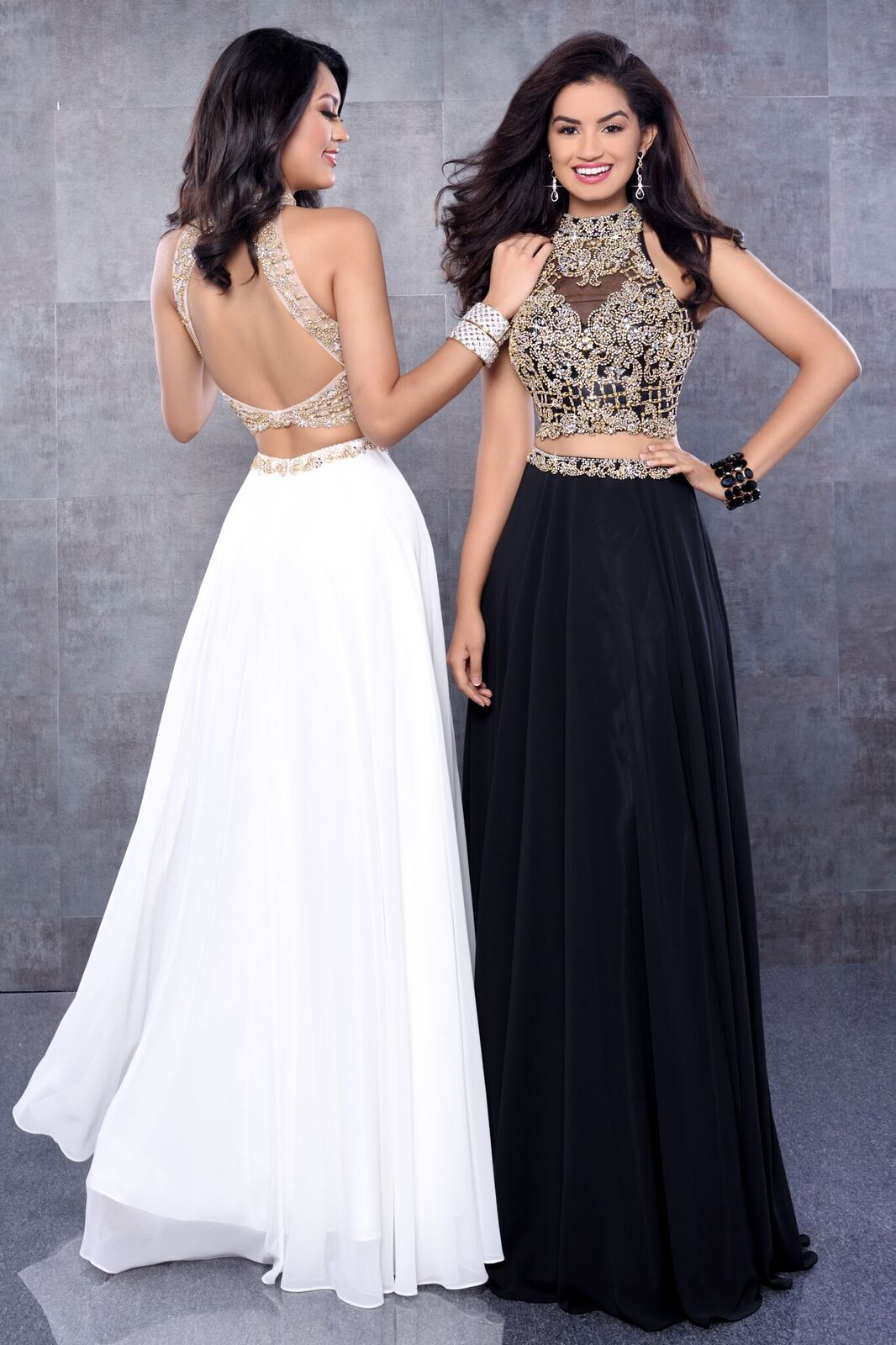 Karishma creations two piece chiffon skirt prom dress with fully