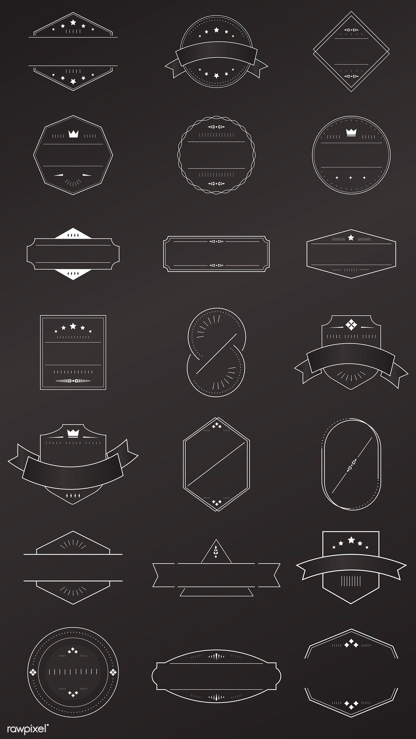 Gold badges on black background vector collection free