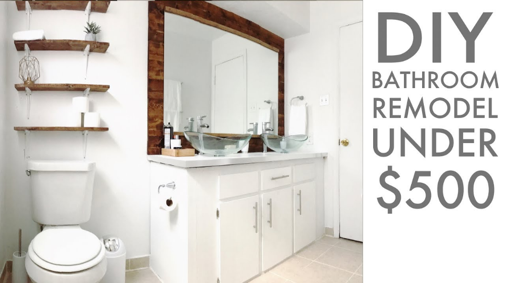 Remodeling A Bathroom For Under 500 Diy How To Modern Builds In 2020 Diy Bathroom Remodel Bathroom Remodel Small Diy Small Bathroom Diy