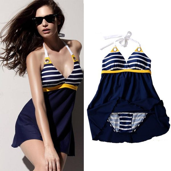 8503e104c4c1c Find More One Pieces Information about New Sexy Stripe Plus Size Padded  Navy Blue Halter Skirt Swimwear Women One Piece Swimsuit Beachwear Bathing  Suit Free ...