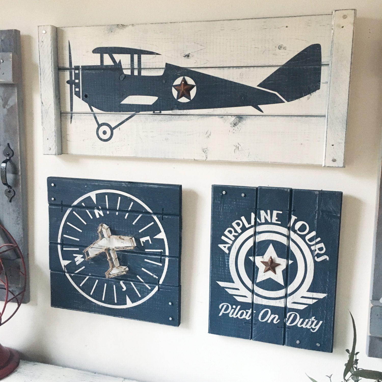 set decor airplane aviation art vintage wood wall pin nursery piece