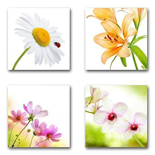 Blumen Blüten - Set C schwebend, 4-teiliges Bilder-Set - Bilder