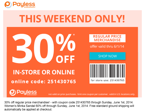 image relating to Payless Printable Coupons known as Pinned May possibly 30th: 30% off at Payless #Footwear or on the net by