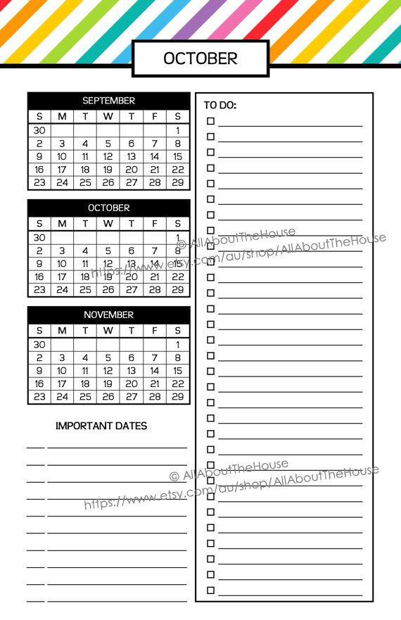 Half Size  Calendar Planner  Allaboutthehouse  Rainbow