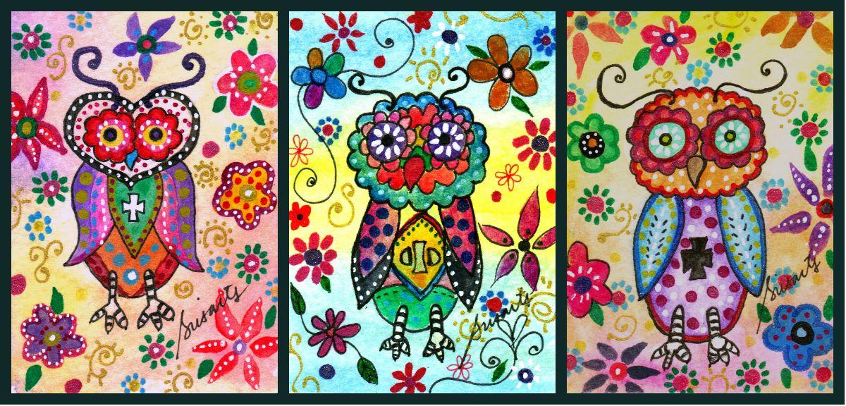 Whimsical talavera Owl painting. ACEO. Great Gift for Newborn, Baby shower, Nursery Design, Room Art, Birthday, Christmas, Graduation, Bar, Bat, B'nai Mitzvah. Celebration. Whimsy Collectible Art. original #prisarts