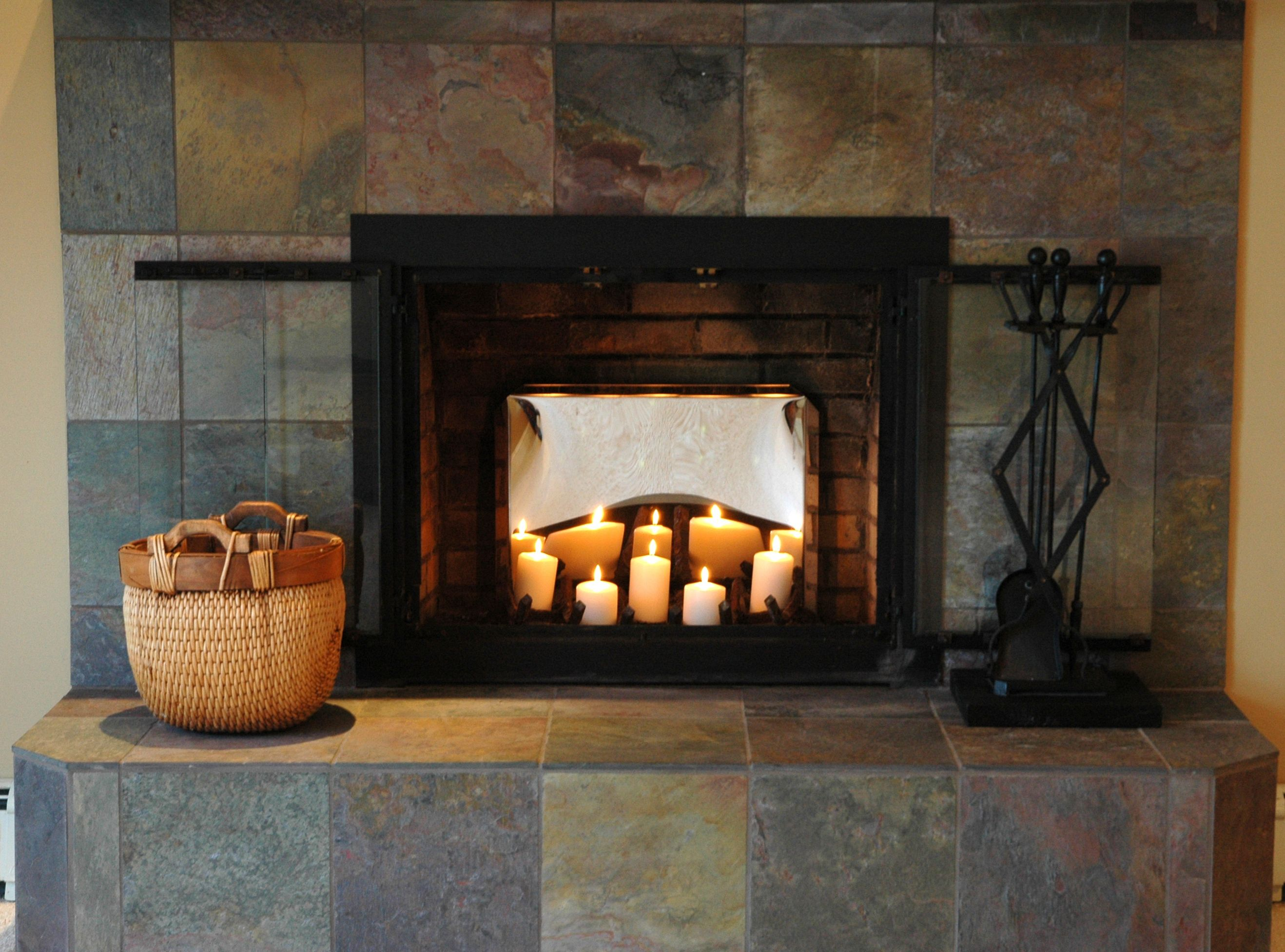 appealing flameless candles in fireplace photo design inspiration