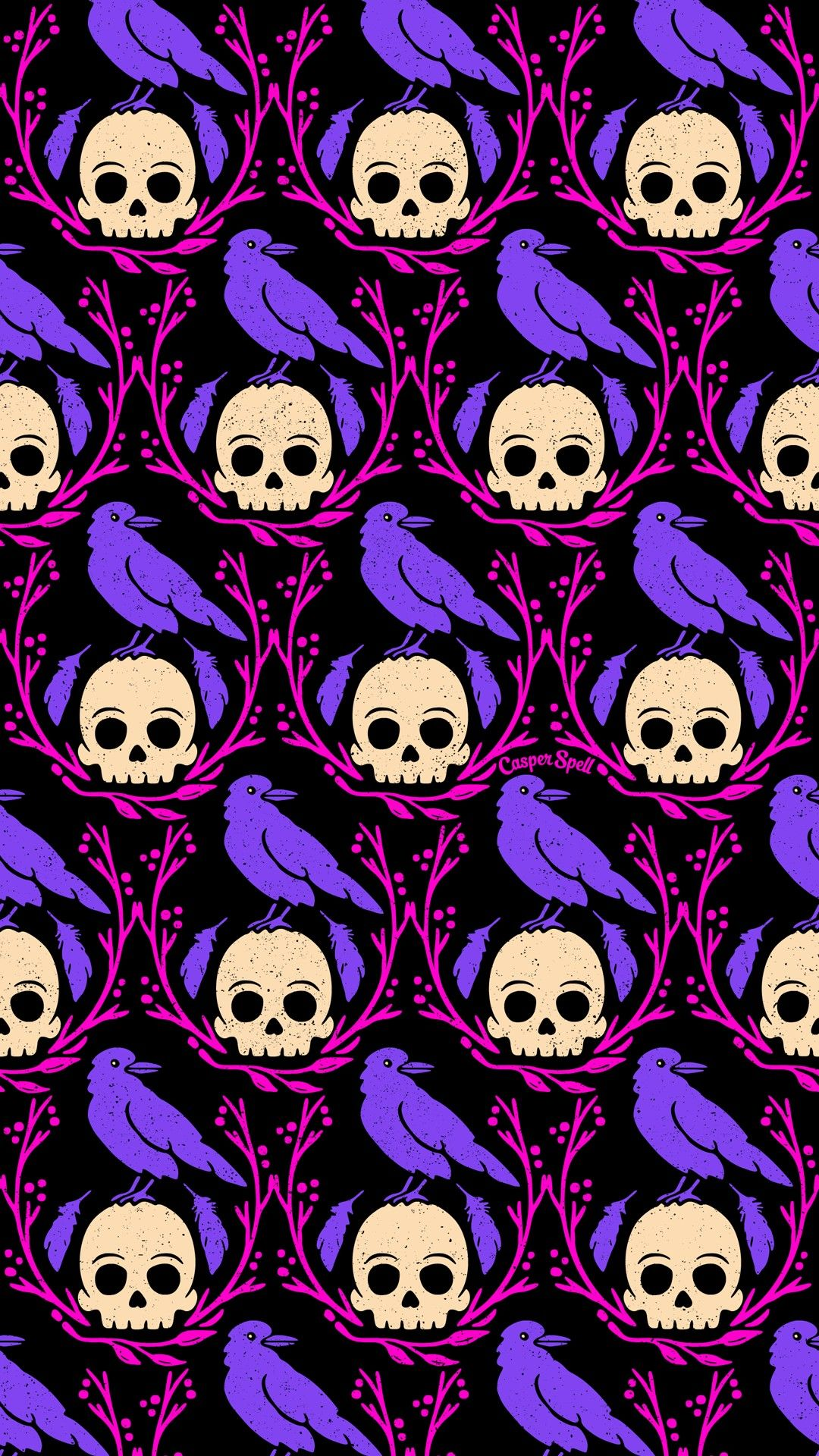 Crows skulls Crow on skull Halloween spooky cute creepy