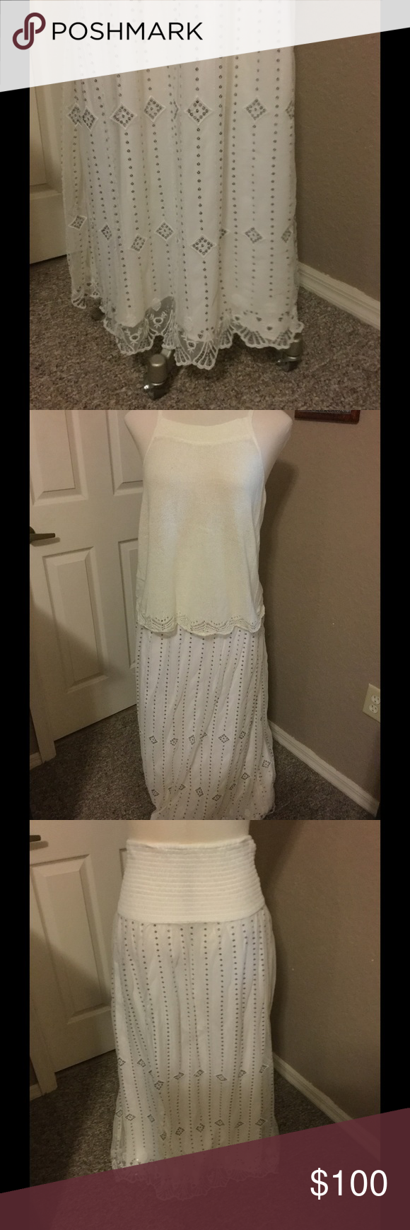 Free People Large ivory/silver sequin maxi Free People Large (fits a 14) maxi skirt. This skirt is simply Gorgeous !!!!!  Purchased at Nordstroms to wear to the islands.  Worn once. Mint/ excellent condition.  No missing sequins.  Real beachy look  Free People Skirts Maxi