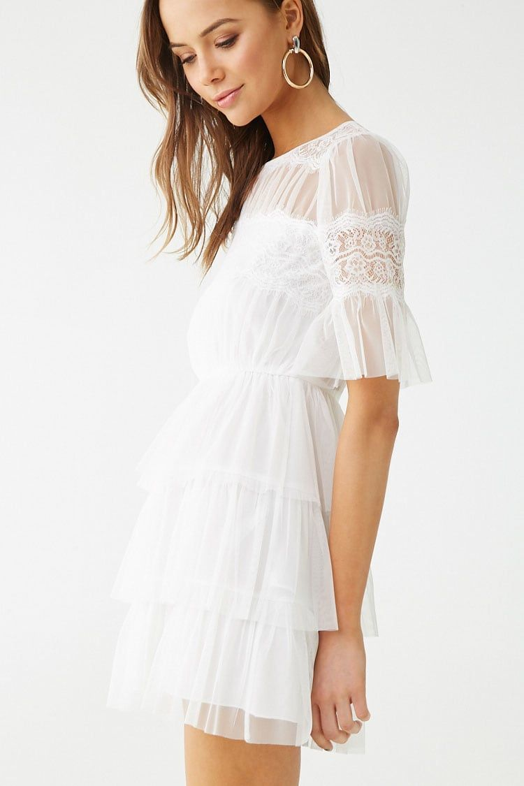 Sheer Tiered Ruffle Dress Forever 21 Tiered Ruffle Dress Dresses Fashion