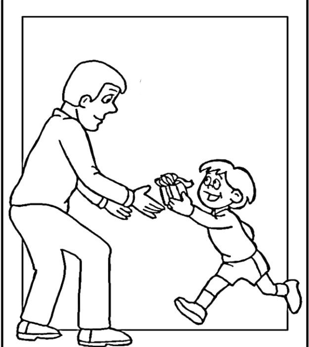 The Father Receives Gifts From The Child Coloring Pages Clipart - new free coloring pages for father's day