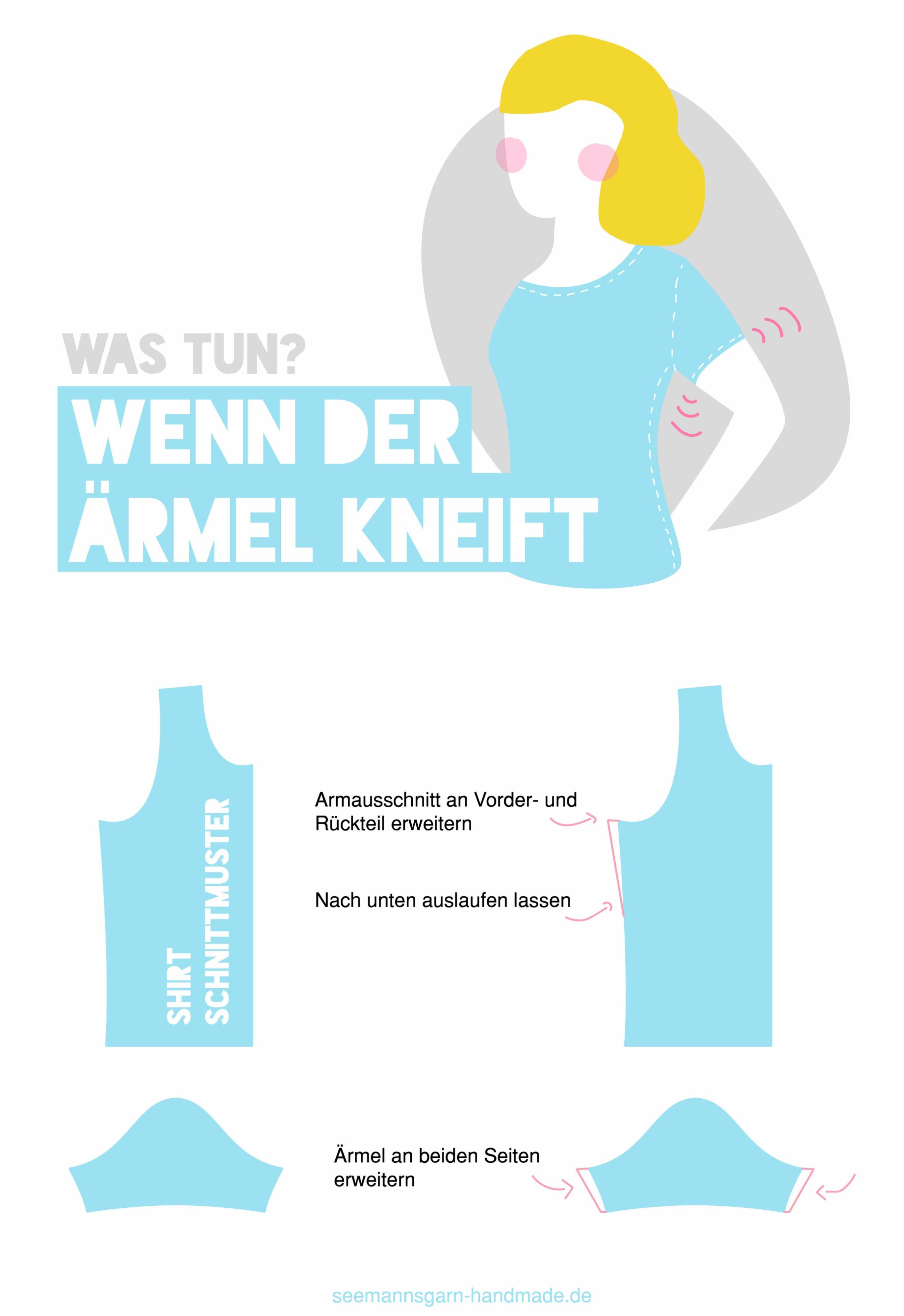 Quick-Tipp • Armausschnitt vergrößern | Pinterest | Schnittmuster ...