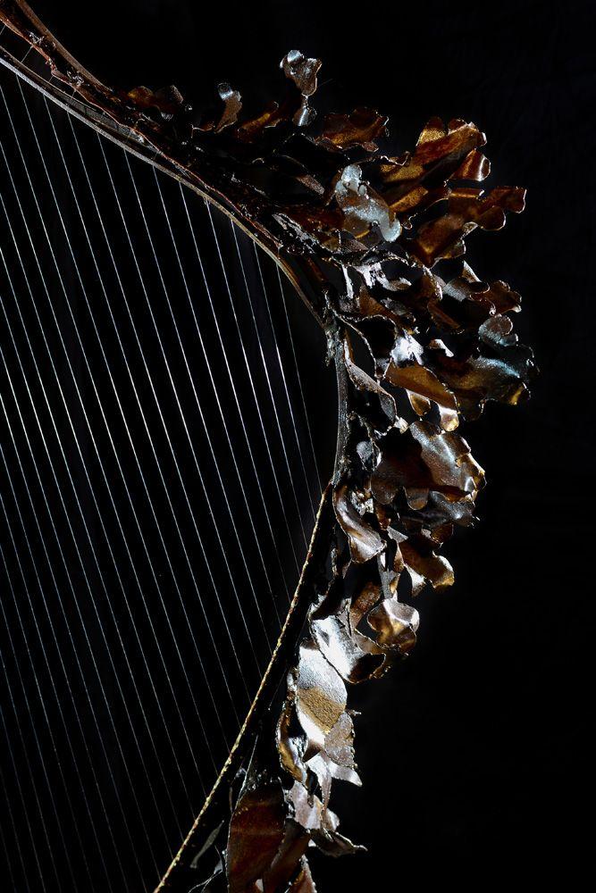 Frondaison/ Harpe en fer et bois (châtaignier); détail Thierry - peinture bois et fer
