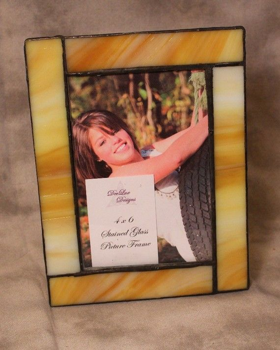 Yellow White Stained Glass Picture Frame 4X6 by DeeLuxDesigns ...
