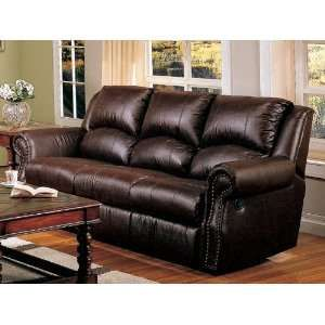 Lovely Couch Recliner | Recliner Sofa Couch Nail Head Trim Dark Brown Leather