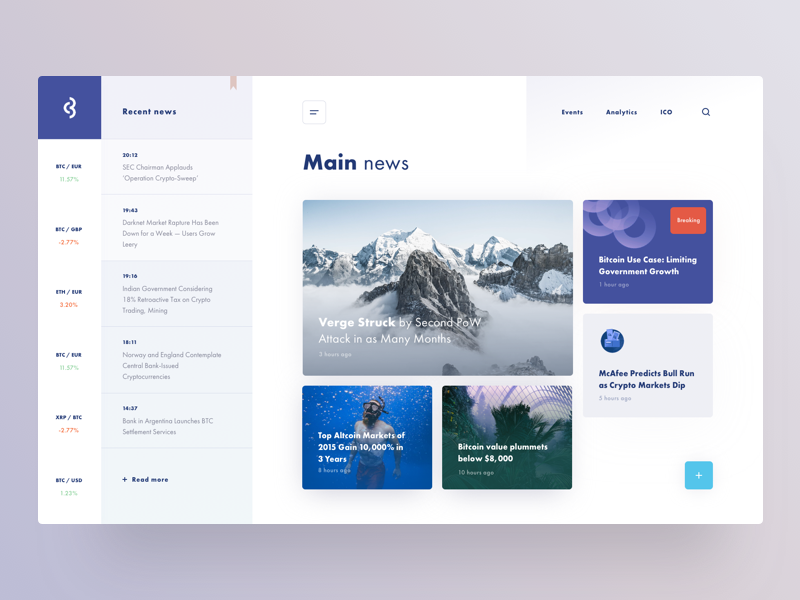 Design concept for the news website