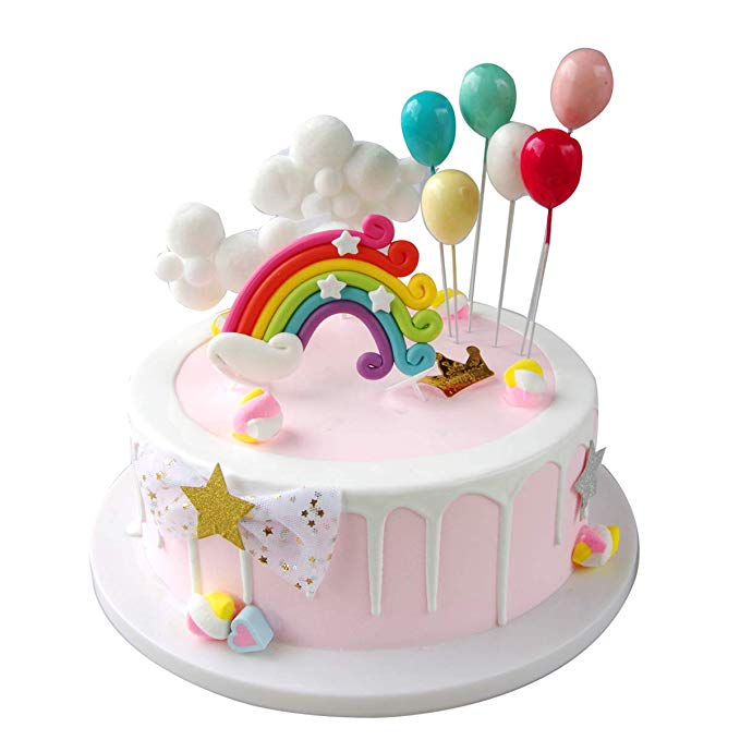 Sunormi Balloons Clouds And Rainbow Cake Toppers Set Kids