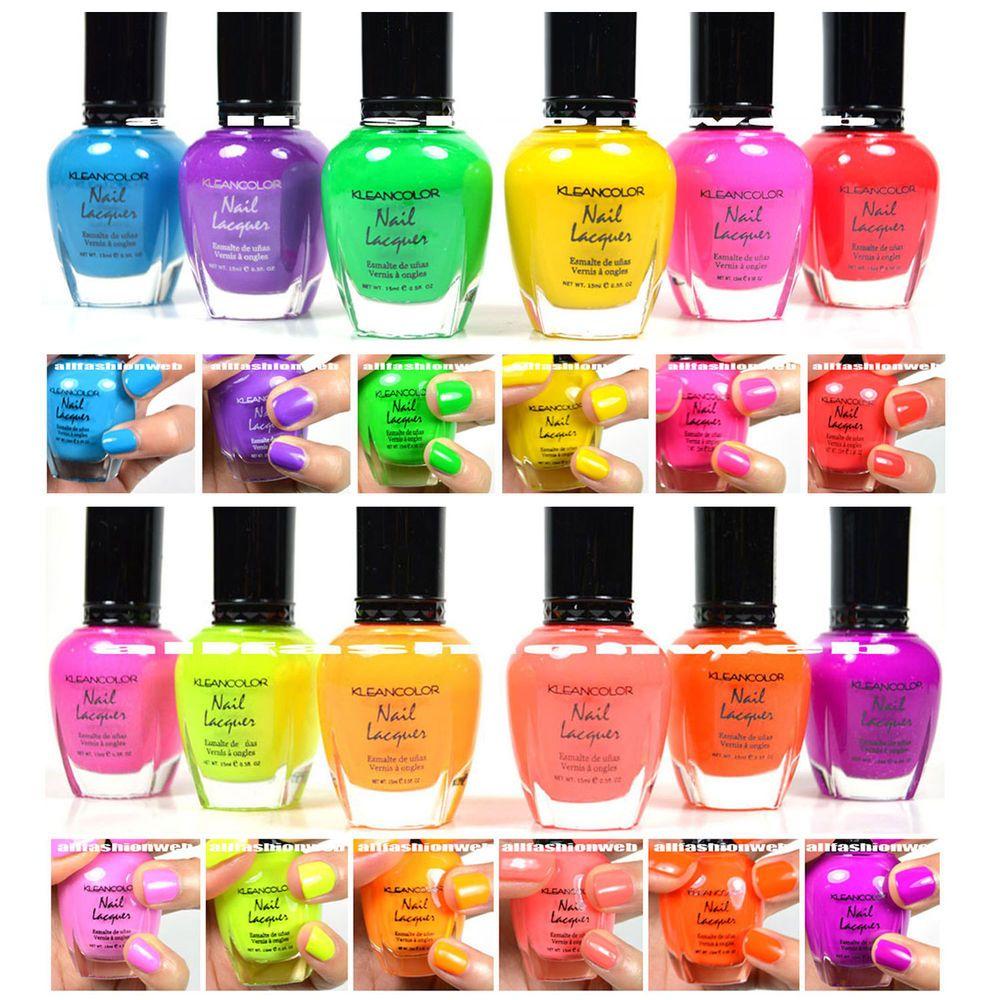 Kleancolor Neon Colors 12 Full Colletion Set Nail Polish Lacquer 12neonset