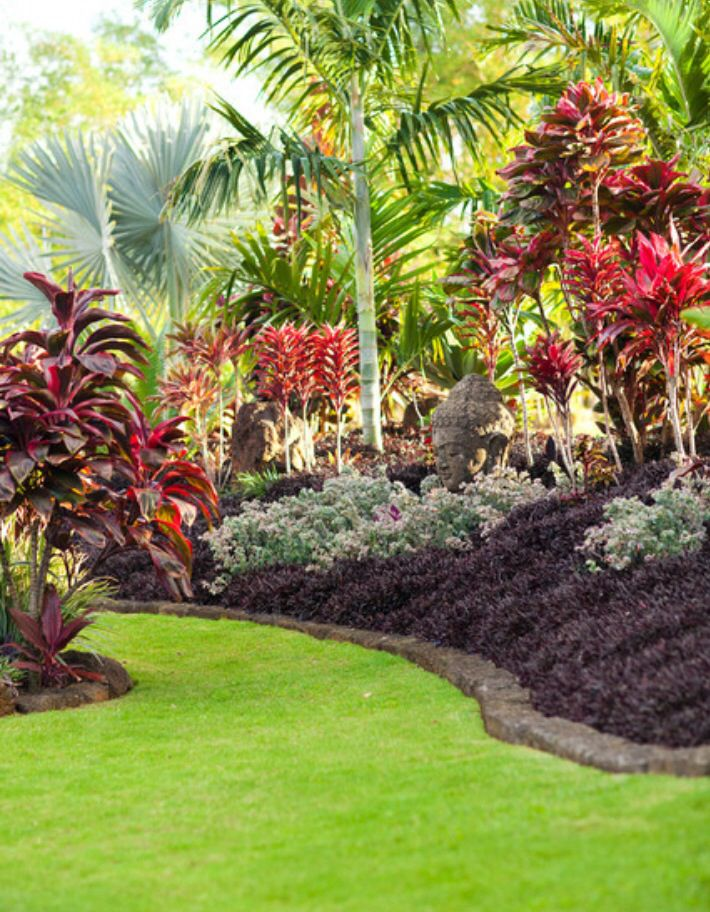 Lava rock border | yard | Tropical garden design, Balinese ...