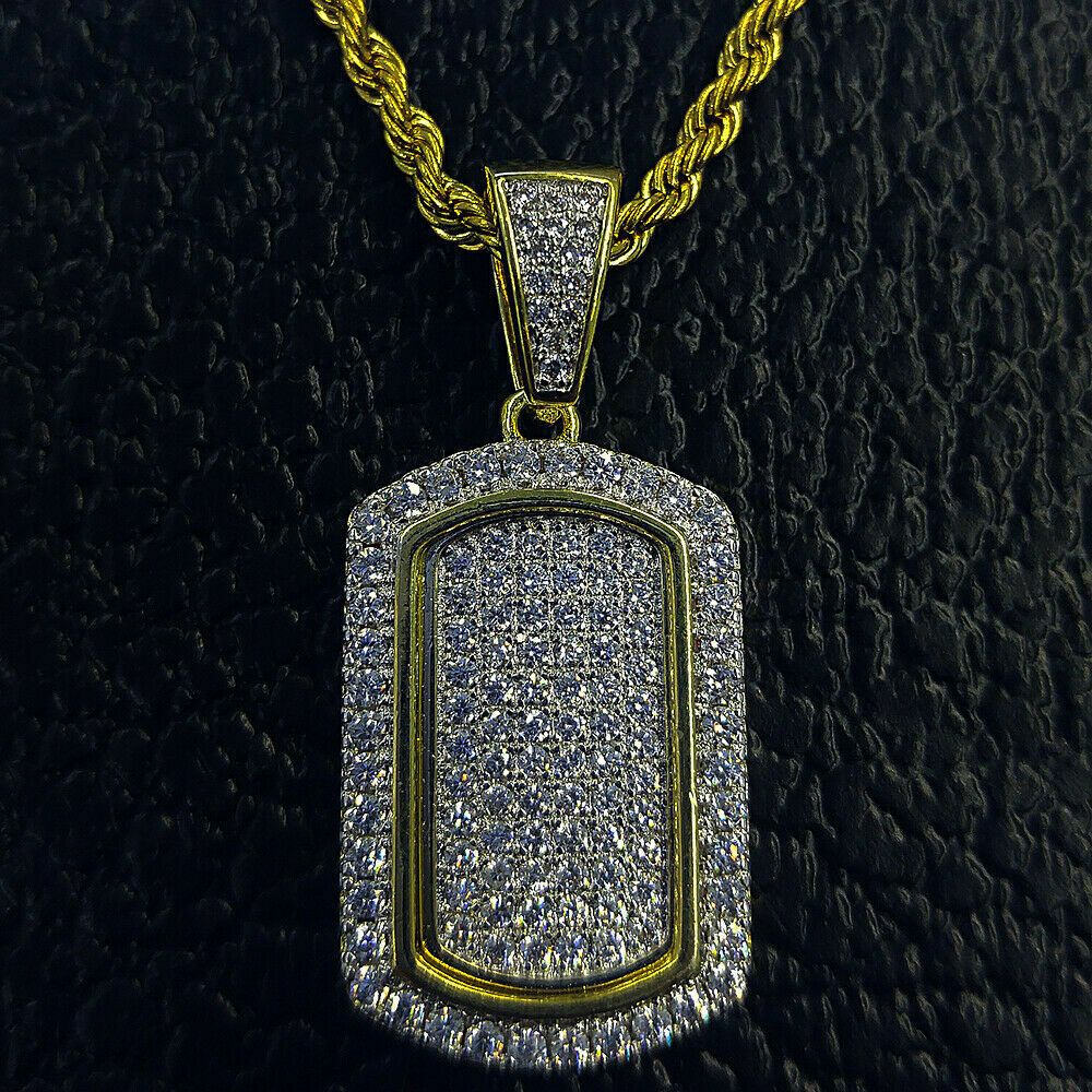 Solid 10K Yellow Real Gold Simulated Diamond Key Pendant
