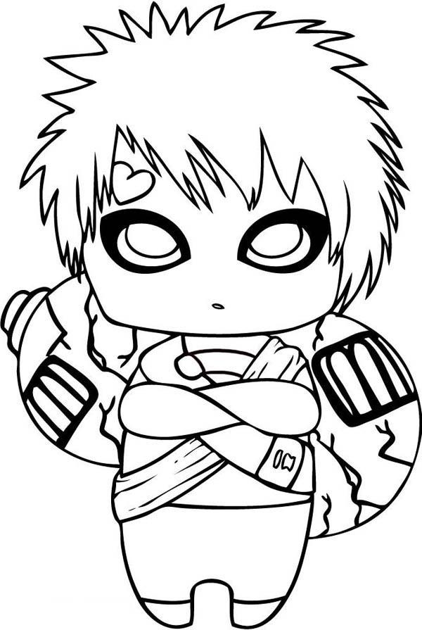 Chibi Gaara of the Desert Coloring Page - NetArt   Naruto ...