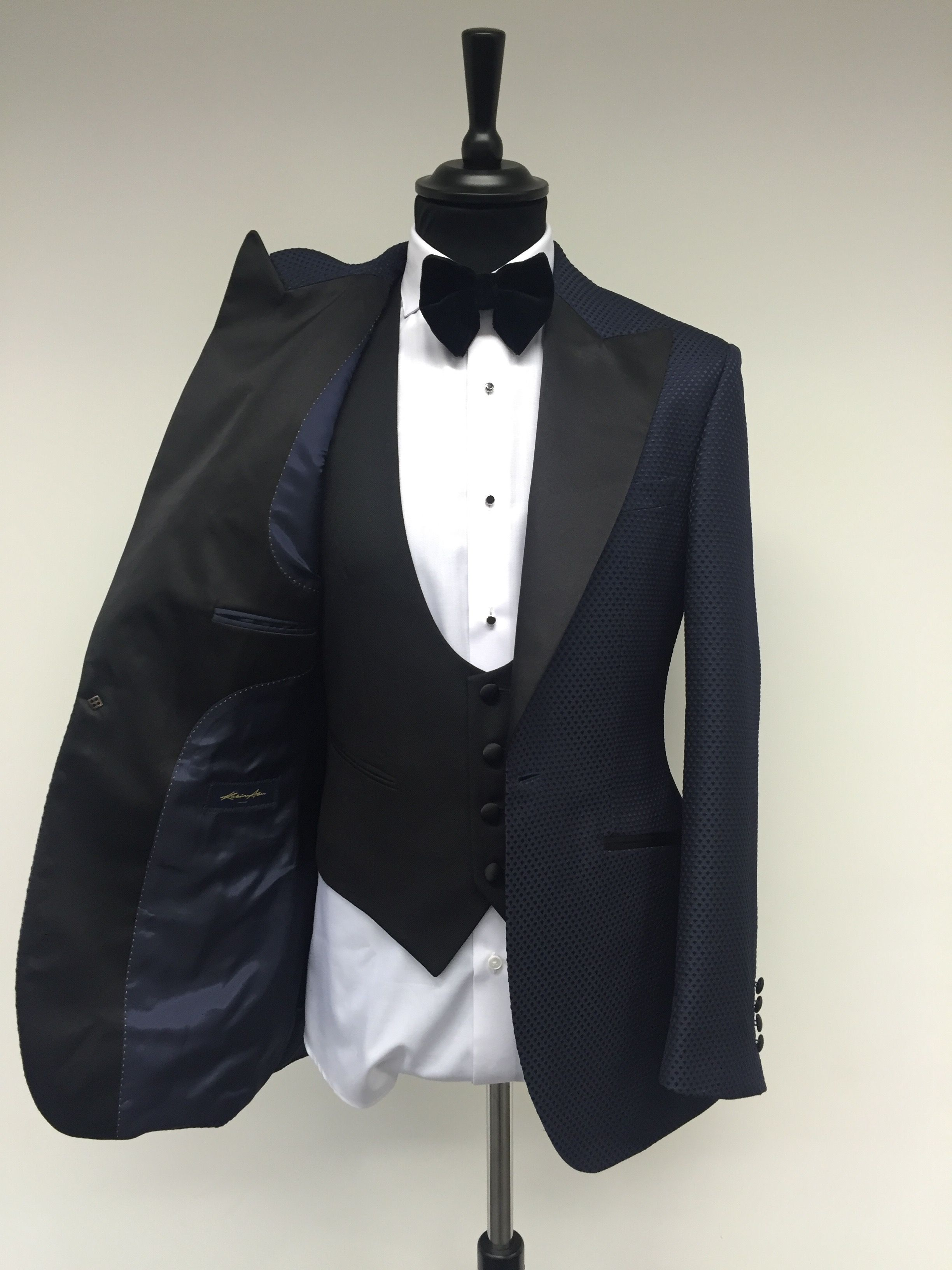 Kent Midnight Blue Tuxedo. Diamond Cloque PatternFabric, Black ...