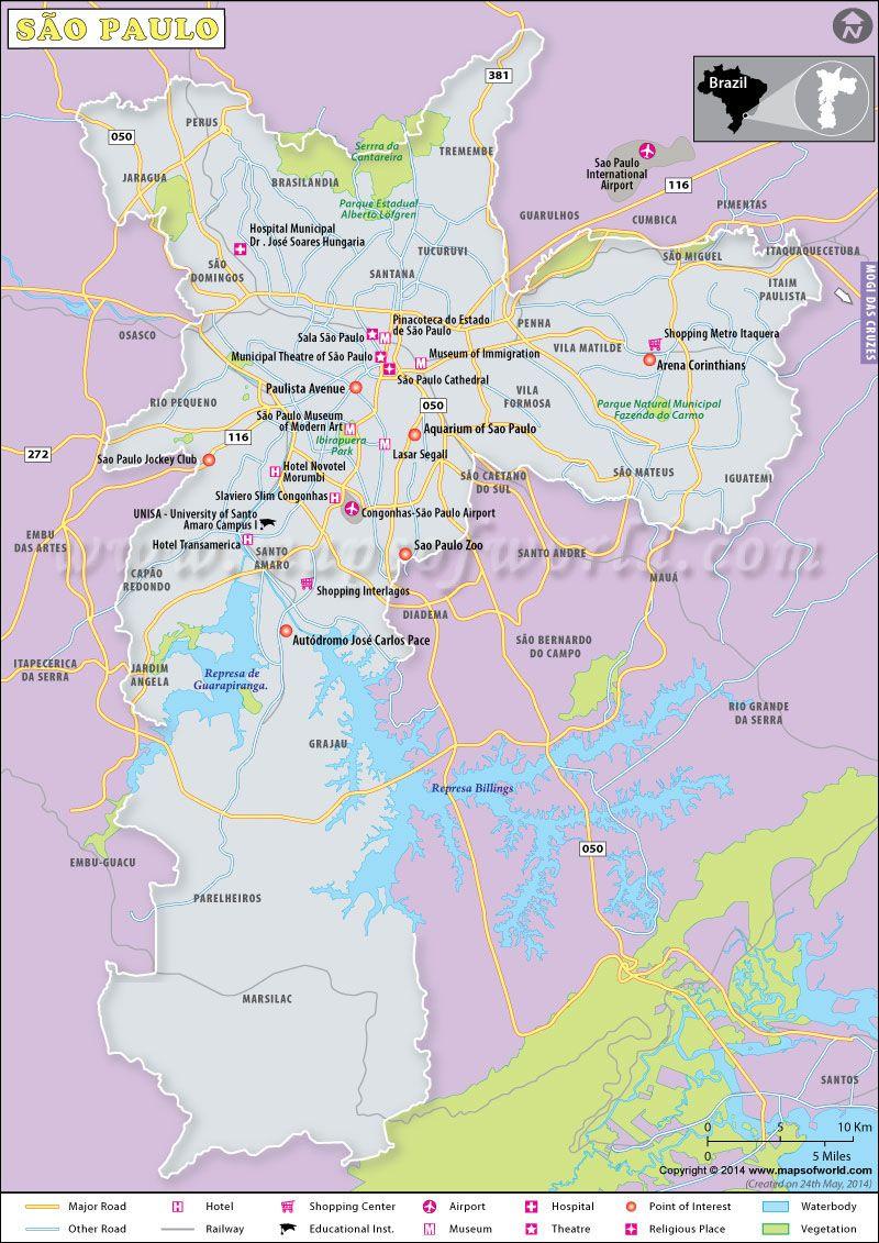 Sao Paulo Map | brazil.. land and people | Pinterest | Brazil, Sao ...