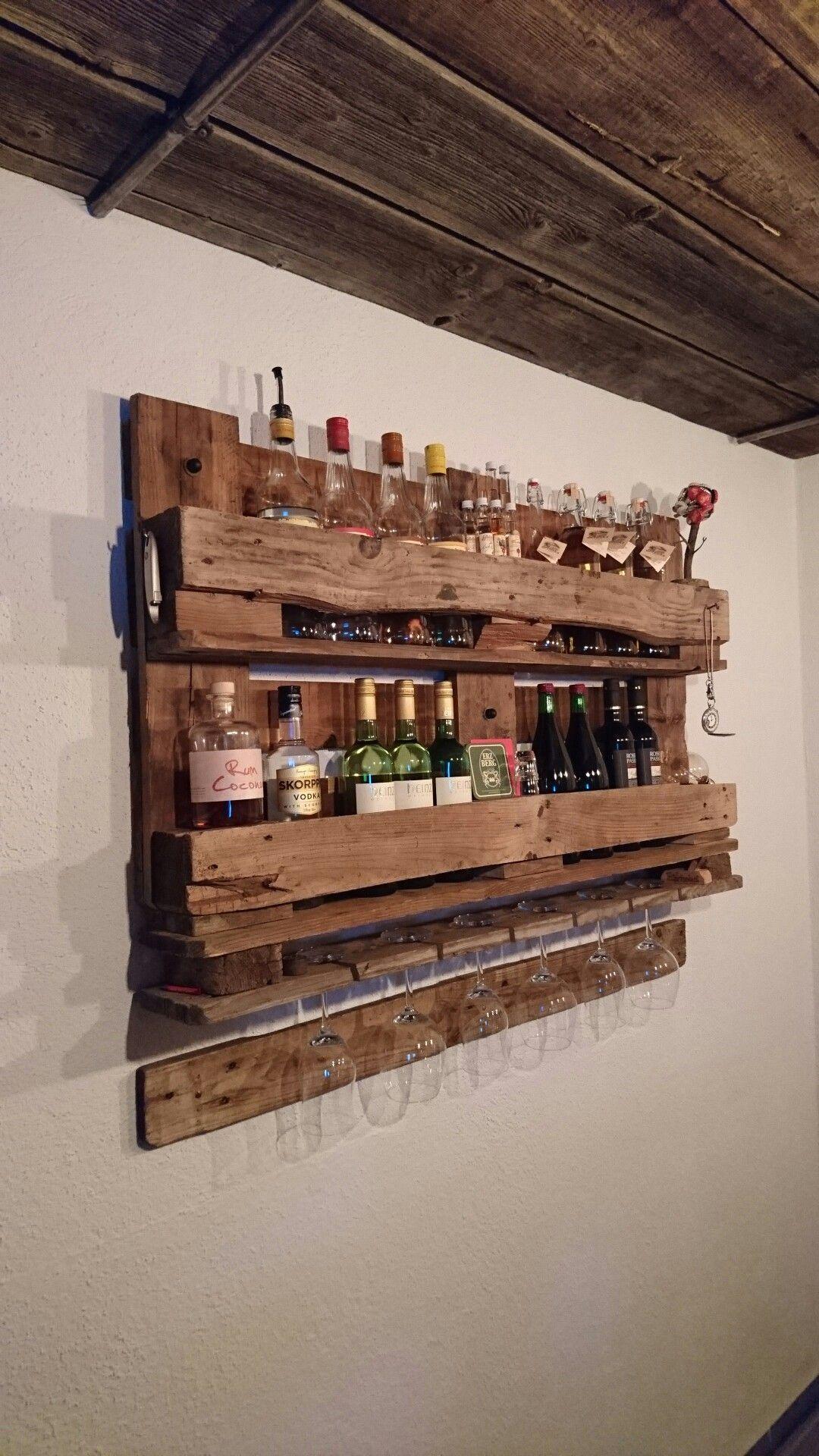 WEINREGAL EURO PALETTEN MÖBEL Wandregal Holz Bar Rustikal