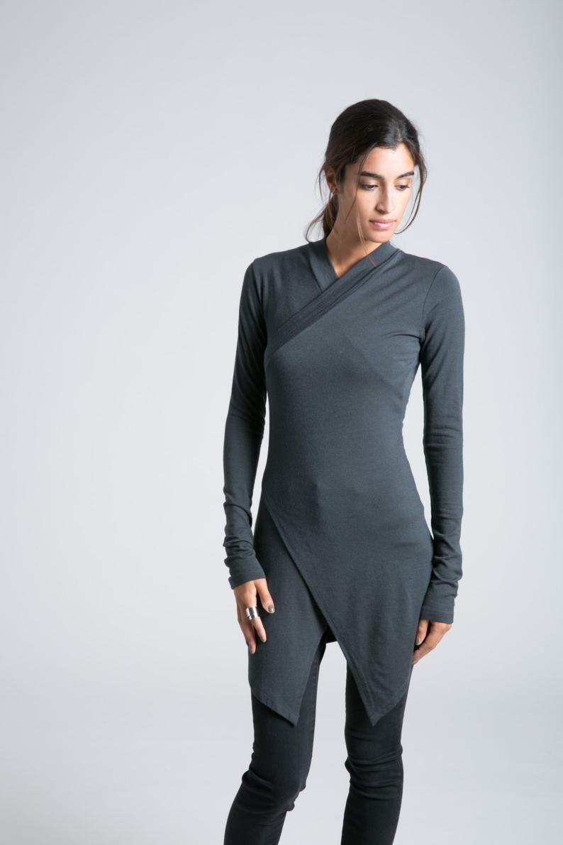 Ladies Casual Loose Fit Long Sleeve Round Neck Asymmetric Kaftan Tunic Top FM35