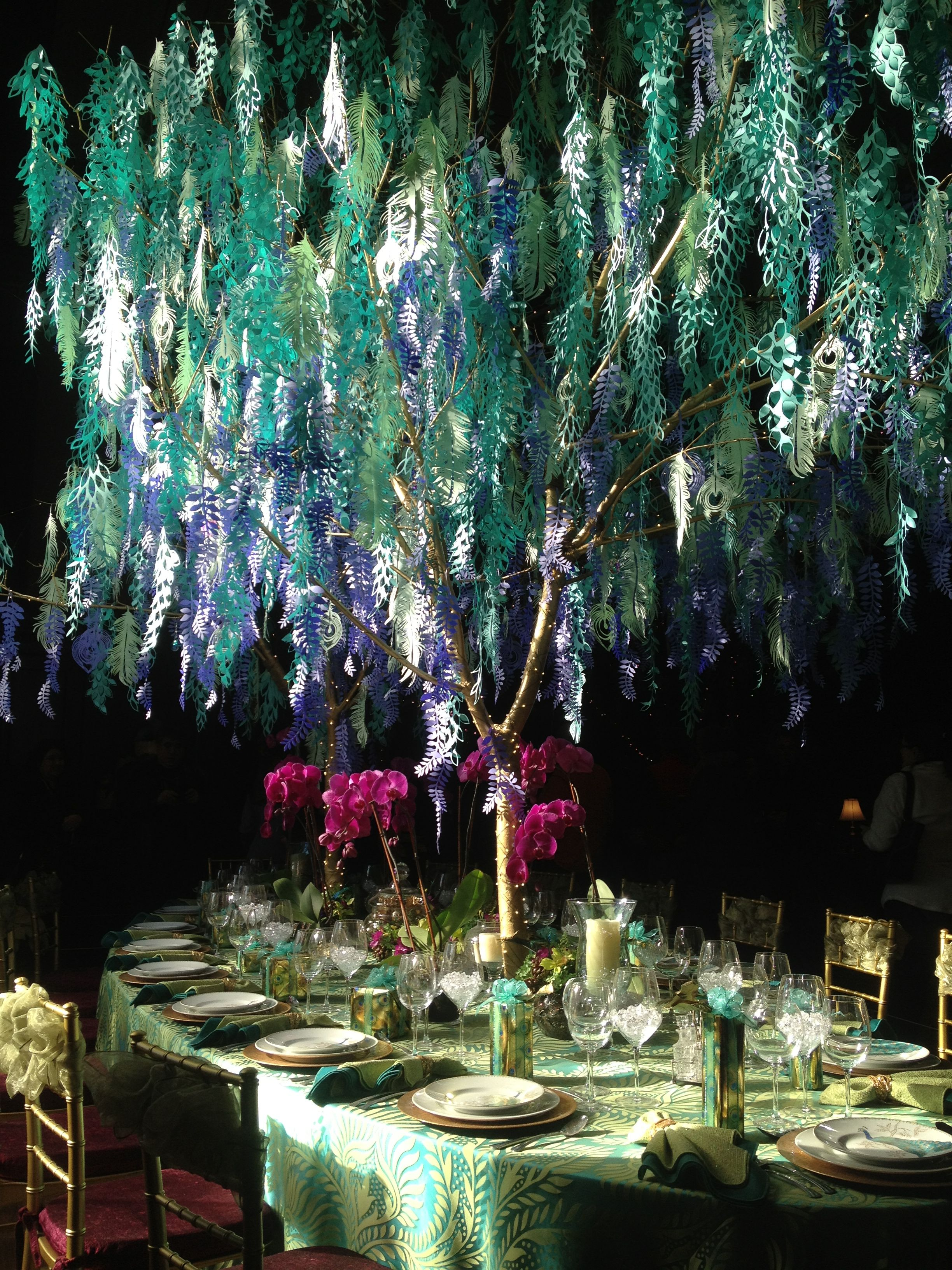 peacock table and paper willow tree centerpiece at longwood gardens rh pinterest com weeping willow tree centerpieces