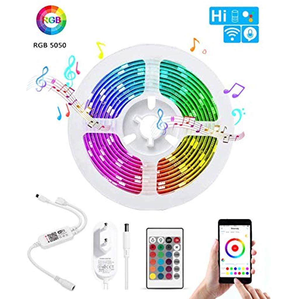 Bifada Wifi Led Streifen Wlan Led Musikstreifenkabellose Smartphone App Gesteuert Sync Mit Musik 5m Rgb Lichtleiste Led Lichtstreifen Kom Led Streifen Led Wlan