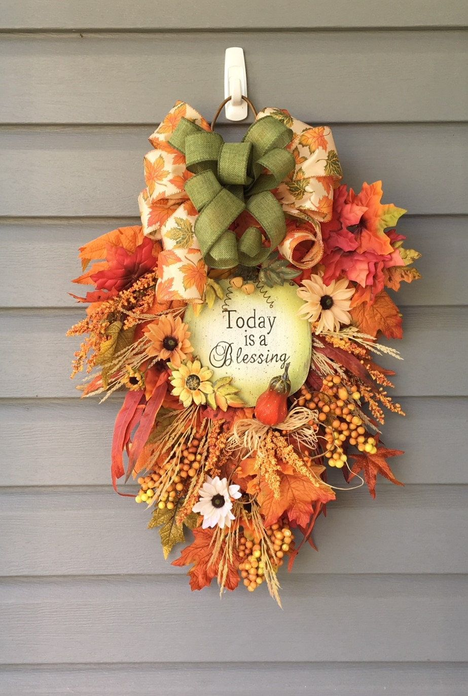 Fall Swag For Front Door Fall Wreath Religious Wreath Teardrop