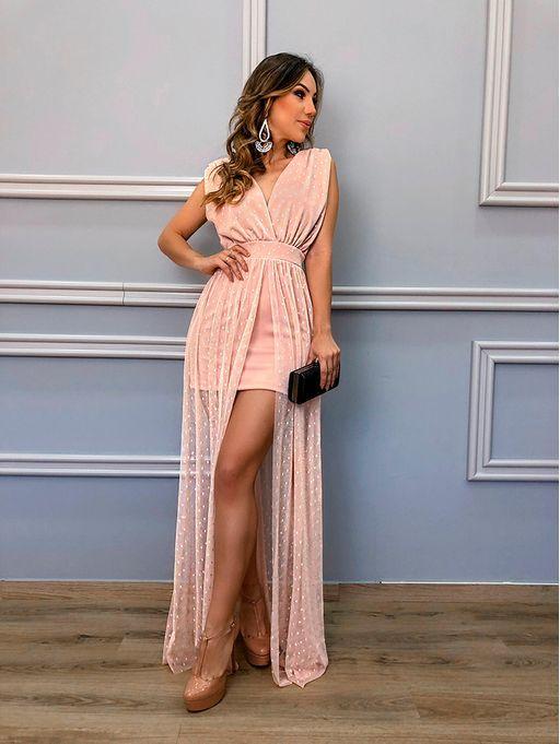 a92ca04f2 Vestido Fit Tule Nude | Vestido lindo em 2019 | Vestidos de festa ...