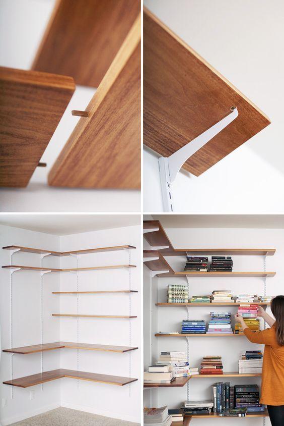 Build Organize A Corner Shelving System A Beautiful Mess Diy Ikea Mur De Bibliotheque Chambre Diy