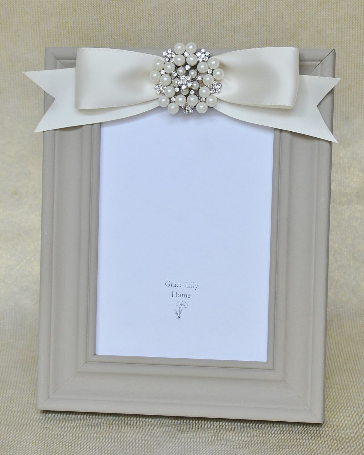 6 Crystal Pearl Photo Picture Frame Diamond Bowknot: Embellished Picture Frame With Bow