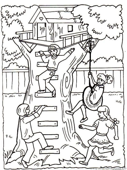 Una casa en el árbol - Dibujalia - Dibujos para colorear ... | casa ...